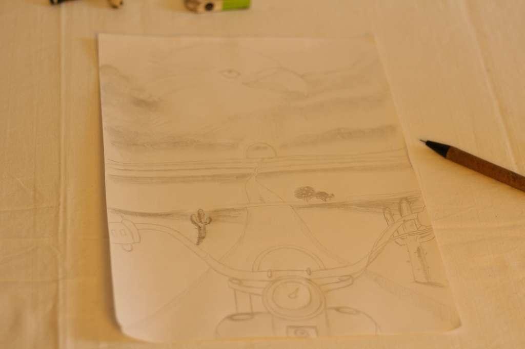 Ladschaftsskizze auf einen blatt papier.